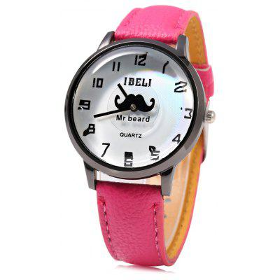 IBELI 801 Beard Second Dial Female Quartz Watch Leather Band