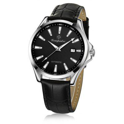 Compadre 8001 Men Automatic Mechanical Watch Date Leather Band