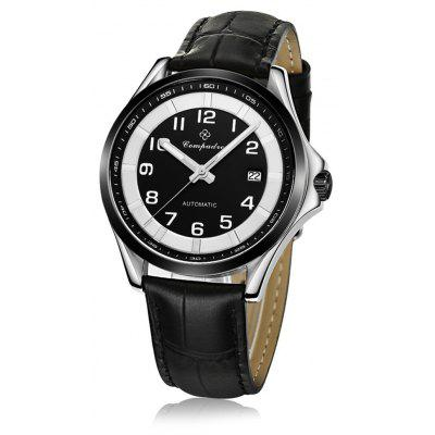 Compadre 8004 Men Automatic Mechanical Watch Date Leather Band