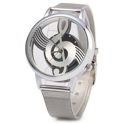 9687 Transparent Dial Musical Note Pattern Male Quartz Watch