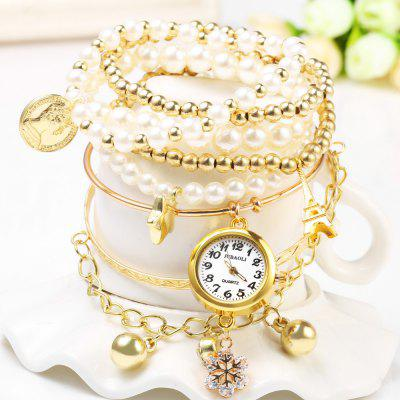 JUBAOLI 1107 Female Quartz Pendant Multilayer Chain Watch