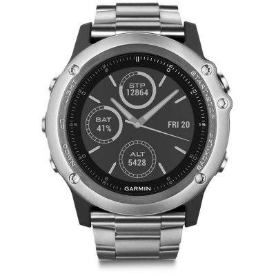 Garmin FENIX 3 100m Smartwatch Digital Smart WatchSmart Watches<br>Garmin FENIX 3 100m Smartwatch Digital Smart Watch<br><br>Alert type: Vibration<br>Available Color: Silver<br>Band material: Stainless Steel<br>Battery  Capacity: 300mAh<br>Bluetooth Version: Bluetooth 4.0<br>Brand: GARMIN<br>Case material: Stainless Steel<br>Charging Time: About 3hours<br>Compatability: Android 4.3 / iOS 7.0 and above system<br>Compatible OS: IOS, Android<br>Dial size: 5.1 x 5.1 x 1.5 cm / 2.01 x 2.01 x 0.59 inches<br>IP rating: 100m<br>Language: English,Simplified Chinese<br>Locking screen: 2<br>Notification: Yes<br>Operating mode: Press button<br>Other Function: Compass, Thermometer, GPS, Altimeter, Waterproof<br>Package Contents: 1 x Garmin FENIX 3 Smart Watch, 1 x English User Manual, 1 x Charging Cable<br>Package size (L x W x H): 12.70 x 9.50 x 9.00 cm / 5 x 3.74 x 3.54 inches<br>Package weight: 0.3930 kg<br>People: Male table<br>Product weight: 0.1350 kg<br>Screen: LCD<br>Shape of the dial: Round<br>Standby time: Training Mode: 20 hours at most; Power Saving Mode: 50 hours at most<br>Type of battery: Rechargeable Li-ion Battery<br>Waterproof: Yes<br>Wearing diameter: 15 - 25.5 cm / 5.91 - 10.04 inches