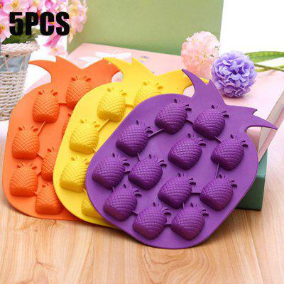 5PCS Pineapple Shape Silicone DIY Ice Mold