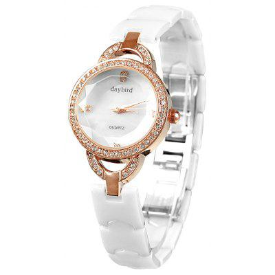 Daybird 3953 Ceramic Band Diamond Quartz Watch for Women