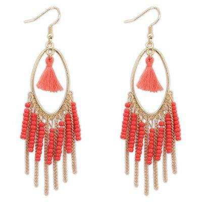 Pair of Bohemian Style Beads Tassel Female Earrings