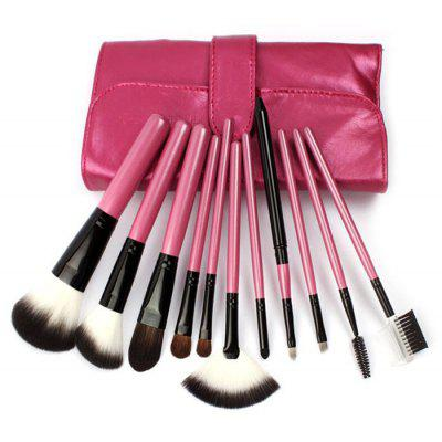 11PCS Synthetic Hair Makeup Brushes with Leather Storage Bag