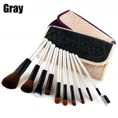 10PCS Antibacterial Fiber Makeup Brushes with Portable Bag
