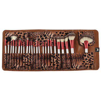 24PCS Leopard Persiano Makeup Brushes with Leopard Storage Bag Cosmetics Accessory
