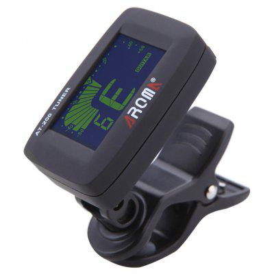AROMA AT - 200 Portable Clip-on Electric Tuner 3 Color Backlit Screen for Chromatic Guitar Bass