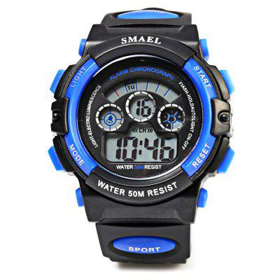 SMAEL 0508 50M Water Resistant Sports Digital Teens WatchSports Watches<br>SMAEL 0508 50M Water Resistant Sports Digital Teens Watch<br><br>Available Color: Black,Blue,Green,Red,Silver<br>Band material: Rubber<br>Band size: 24.00 x 1.8 cm / 9.45 x 0.71 inches<br>Brand: SMAEL<br>Case material: PC<br>Clasp type: Pin buckle<br>Dial size: 4.50 x 1.50 cm / 1.77 x 0.59 inches<br>Display type: Digital<br>Movement type: Digital watch<br>Package Contents: 1 x Children Watch<br>Package size (L x W x H): 25.00 x 5.50 x 2.50 cm / 9.84 x 2.17 x 0.98 inches<br>Package weight: 0.076 kg<br>People: Children table<br>Product size (L x W x H): 24.00 x 4.50 x 1.50 cm / 9.45 x 1.77 x 0.59 inches<br>Product weight: 0.046 kg<br>Shape of the dial: Round<br>Special features: Alarm Clock, Date, Stopwatch, Light, Day<br>Watch style: Casual<br>Water resistance : 50 meters