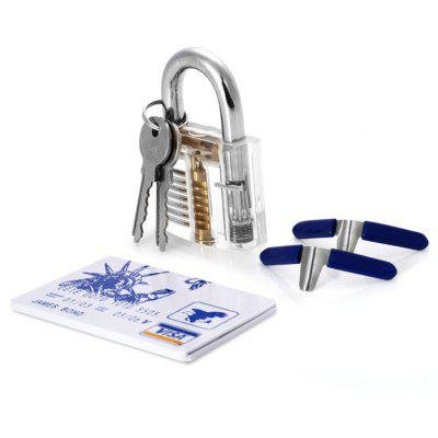 Large Style Transparent Practice Lock Tool Set with 2PCS Padlock Shim