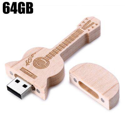 Wood Guitar Style 64GB USB 2.0 Flash Drive Memory Stick U Disk