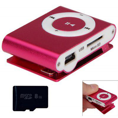 Kompaktowy odtwarzacz MP3 3,5 mm Jack z 8 GB Micro SD Card / Back Metal Clip / Interfejs USB