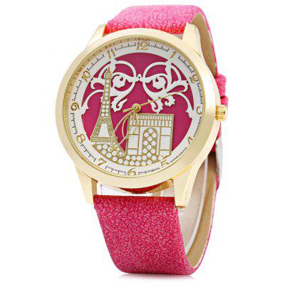 S555 Female Quartz Watch with Iron Tower Pattern Dial