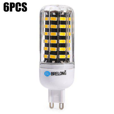 6 x BRELONG G9 1200Lm 12W SMD5733 64 LED Corn Light