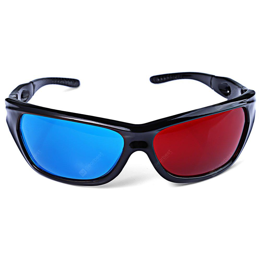 Wonderful Sunglasses-Shaped Red + Blue Lens Anaglyph Circularly 3 Dimensional 3D Glasses for 3D Games 3D DVD Movies
