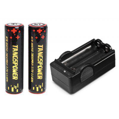 TangsFire 18650 3.7V 3100mAh Li-ion Rechargeable Battery with Charger - 2-Pack, Black, with Protection Board