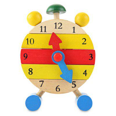 Multicolor Wooden Building Block Clock Kids Toy