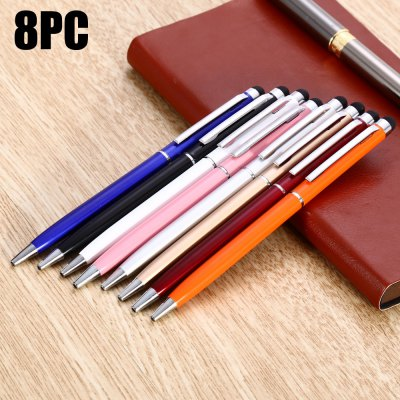 8PCS YQ08 2 in 1 Capacitive Pen / Ballpoint Pen for Touchscreen