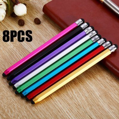 8PCS QB08 Hexagonal Pencil Design Phone Screen Stylus Double Head Touch Pen