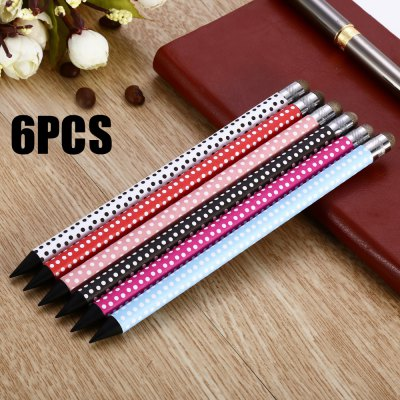 BD06 6PCS 2 in 1 Polka Dot Design Pencil Capacitive Screen Stylus