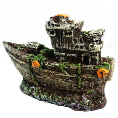 Aquarium Resin Sunken Ship Ornament