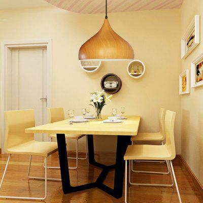 Wide Pendant Light Aluminum Shade Wood Grain