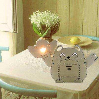 GeekCook Lucky Cat Wooden Lampe de Table