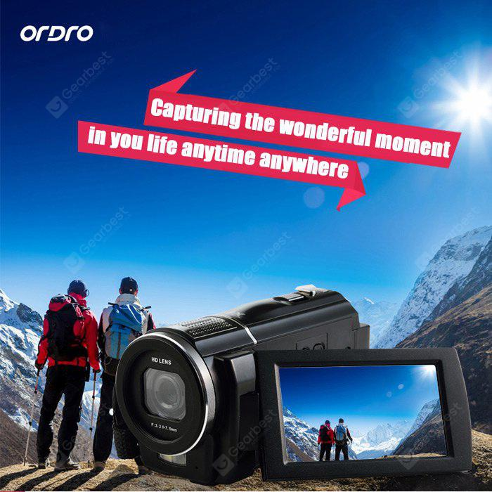 BLACK Ordro HDV F5 24MP Digital Video DV Camera Touch Screen Camcorder