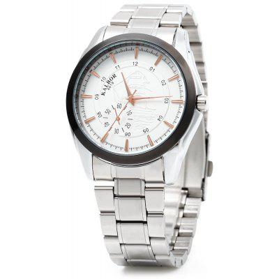 KALBOR 6619 Business Style Emboss Pattern Dial Men Quartz Watch