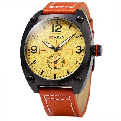 CURREN 8188 Big Dial Men Quartz Watch Leather Band