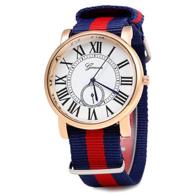GENEVA 461 British Fashion Wind Canvas Stripe Strap Unisex Quartz Watch