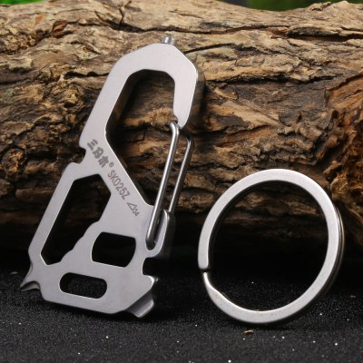 Sarenmu SK025Z Multifunctional Tool Key Chain for OutdoorCarabiner<br>Sarenmu SK025Z Multifunctional Tool Key Chain for Outdoor<br><br>Brand: Sanrenmu<br>Color: Silver<br>For: Adventure, Camping, Climbing, Hiking, Home use<br>Material: Stainless Steel<br>Package Contents: 1 x Sanrenmu SK025Z Key Chain, 1 x Key Ring<br>Package size (L x W x H): 12.50 x 6.50 x 1.20 cm / 4.92 x 2.56 x 0.47 inches<br>Package weight: 0.065 kg<br>Product size (L x W x H): 5.70 x 3.30 x 0.60 cm / 2.24 x 1.3 x 0.24 inches<br>Product weight: 0.018 kg<br>Type: Multitools