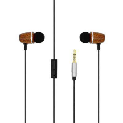 Oldshark SIE00124Z Wood Texture HiFi Music In-ear Earphones with Mic