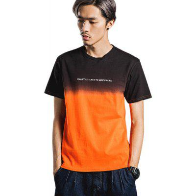 Gradient Color Hombres Casual Style Pure Cotton T-shirts