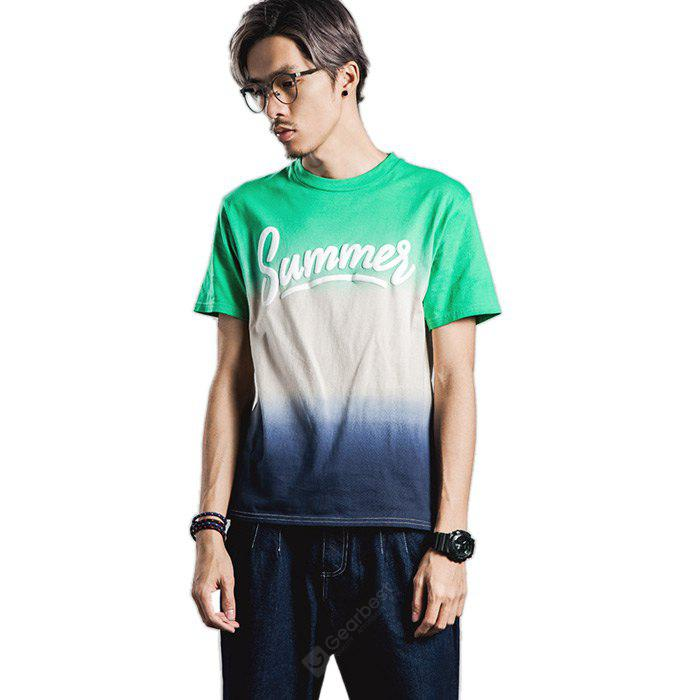 Men Casual Style Pure Cotton T-shirts with Gradient Color