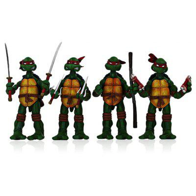 4Pcs Plastic Movie Turtle Style Action Figure Movable Joint Cartoon Decor - 5.5 inch