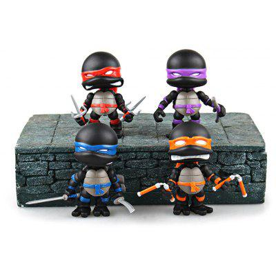 4Pcs Plastic Movie Turtle Style Action Figure Movable Joint Cartoon Decor - 3.1 inch