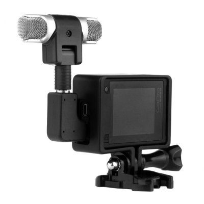 External Hi-Fi Microphone with AdapterAction Cameras &amp; Sport DV Accessories<br>External Hi-Fi Microphone with Adapter<br><br>Accessory type: Frame, Microphone<br>Apply to Brand: Gopro<br>Compatible with: Gopro Hero 4<br>Package Contents: 1 x Microphone, 1 x Microphone Adapter, 1 x Frame Case for GoPro 3 Plus / 4 , 1 x Microphone Anti-wind Cap Cover<br>Package size (L x W x H): 8.80 x 7.20 x 3.50 cm / 3.46 x 2.83 x 1.38 inches<br>Package weight: 0.080 kg<br>Product size (L x W x H): 6.20 x 4.90 x 2.30 cm / 2.44 x 1.93 x 0.91 inches<br>Product weight: 0.040 kg