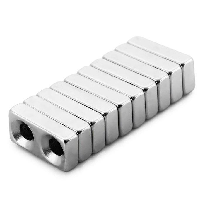 10Pcs / Lot 20 x 10 x 5mm N38 Powerful NdFeB Square Magnet with Countersunk Screw Hole Educational DIY Toy