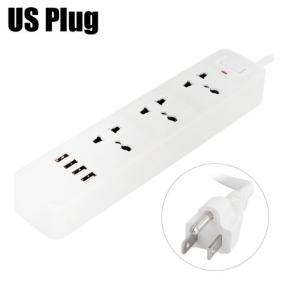 4 USB 2.0 Charger + 3 Triporate Ports Socket