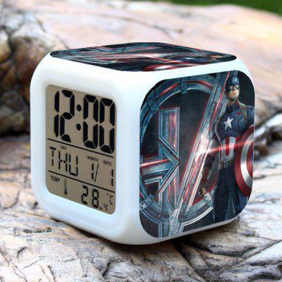 7 Color Change Hero Pattern Digital Alarm Clock LED Night Light Anime Product Children Birthday Gift