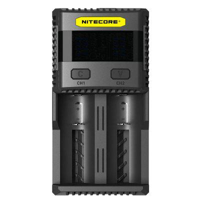 Nitecore SC2 3A Quick Charge Intelligent Battery ChargerChargers<br>Nitecore SC2 3A Quick Charge Intelligent Battery Charger<br><br>Brand: Nitecore<br>Charging Cell Qty: 2<br>Charging Cell Type: NiCd, Ni-MH, Lithium Ion, LiFePO4<br>Circuit Detection: Yes<br>Compatible: 21700, 20700, 18700, 18650, 18500, 18490, 18350, 17670, 22500, 22650, D, C, AAAA, AAA, AA, 26650, 26500, 25500, 17650, 17500, 13450, 12650, 12500, 12340, 10500, 10440, 10350, 10340, 13500, 13650, 17350, 16650, 16500, 16340 (RCR123), 14650, 14500, 14430, 14350<br>Fast Charging Function: Yes<br>Input Voltage: AC 100~240V 50/60HZ,DC 12V<br>LCD Screen: Yes<br>Model: SC2<br>Output Voltage: 4.35 / 4.2 / 3.7 / 1.48V + / - 1pct, 3A + 2A (max); 5V 2.1A (USB)<br>Over Charging Protection: Yes<br>Package Contents: 1 x Nitecore SC2 Battery Charger<br>Package size (L x W x H): 18.00 x 12.00 x 6.00 cm / 7.09 x 4.72 x 2.36 inches<br>Package weight: 0.6200 kg<br>Product size (L x W x H): 16.00 x 10.00 x 4.00 cm / 6.3 x 3.94 x 1.57 inches<br>Product weight: 0.3000 kg<br>Protected Circuit: Yes<br>Reverse Polarity Protection: Yes<br>Short Circuit Protection: Yes<br>Type: Charger