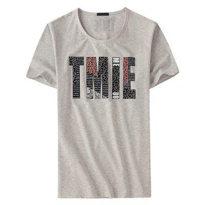 Legend Paul Male Short Sleeves T-shirt with Letter Pattern