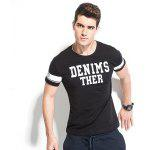 Legend Paul Male Short Sleeves T-shirt with Pattern - BLACK