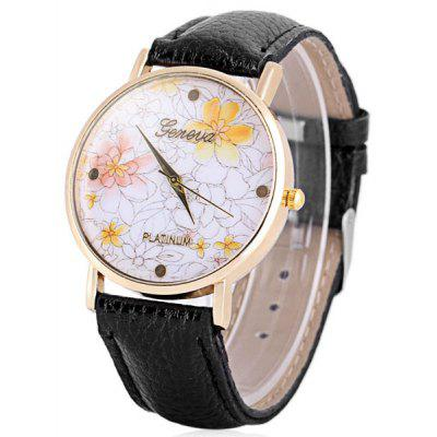 Hot Selling Geneva Quartz Flower Watch Analog Indicate Leather Band for Woman