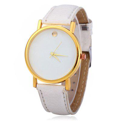 Male Simple Quartz Watch with Golden Dot