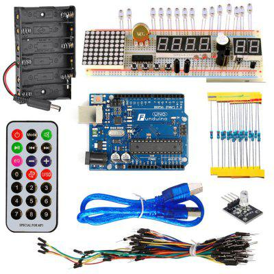 KT003 Arduino UNO Starter Kit with Bread Plate / Sensor / LED Light for DIY Parts