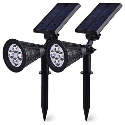 2PCS 2 in 1 Solar Powered 4-LED Landscape Lighting