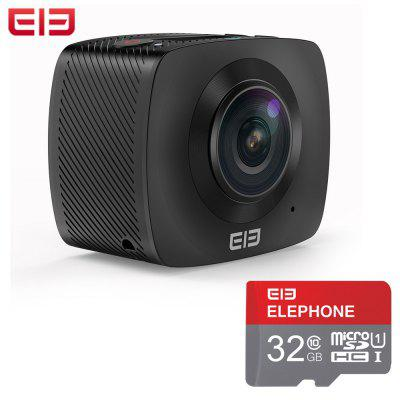 Gearbest Elephone Elecam 360 WiFi Action Camera Dual Lens  -  WITH 32G TF CARD  BLACK